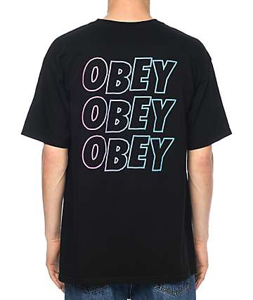 Obey Jumbled Split Fountain Black T-Shirt