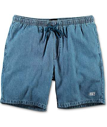 Obey Keble Light Blue Denim Shorts