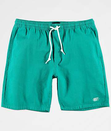 Obey Keble Teal Denim Shorts