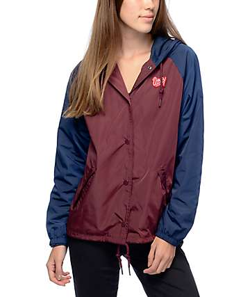 Obey Kibby Burgundy Hooded Coaches Jacket