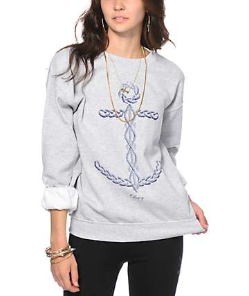 Obey Knit Anchor Grey Crew Neck Sweatshirt