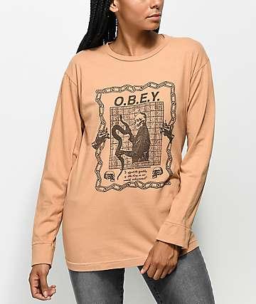 Obey Labour Of Love camiseta de manga larga en color caramelo
