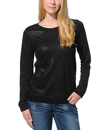 Obey Leopard Foil & Black Echo Mountain Crew Neck Sweatshirt