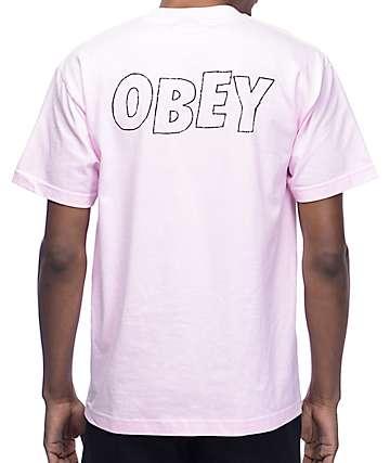 Obey Lo-Fi camiseta en rosa claro