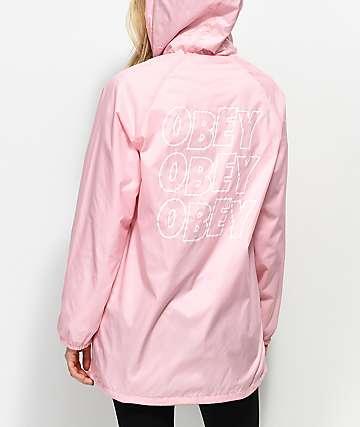 Obey Lofi gabardina con capucha en rosa