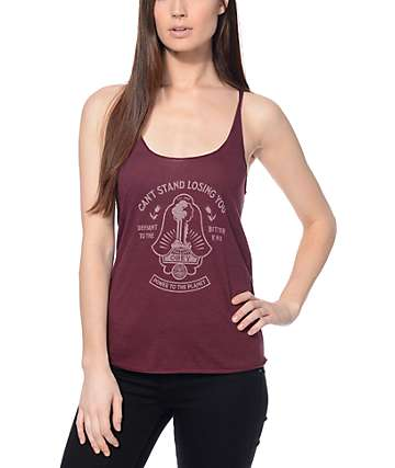 Obey Losing You Burgundy Tank Top