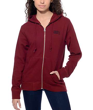 Obey Lotus Zip Up Burgundy Hoodie