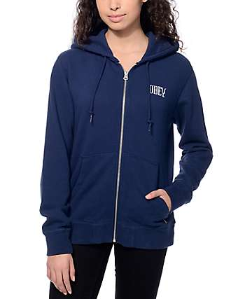 Obey Lotus Zip Up Navy Hoodie