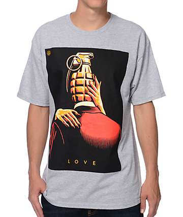 Obey Love Is The Drug Heather Grey T-Shirt
