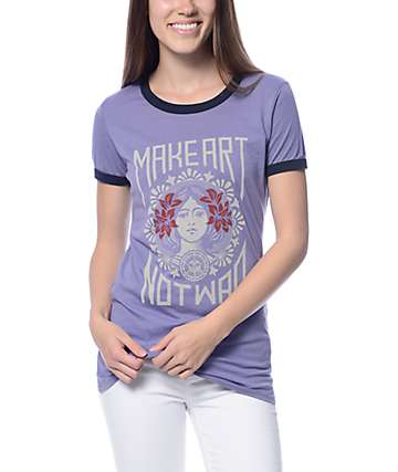 Obey Make Art Not War 2 Blue Violet Ringer T-Shirt