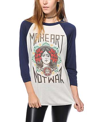 Obey Make Art Not War Baseball Tee