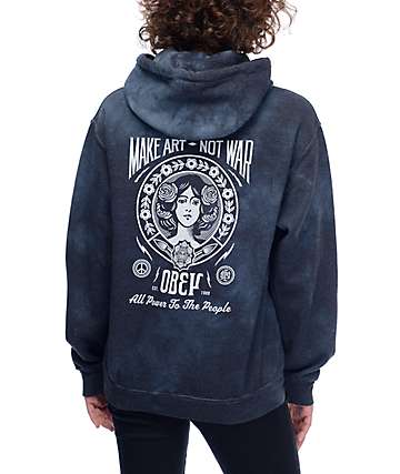 Obey Make Art Not War Black Tie Dye Hoodie
