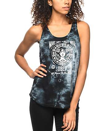 Obey Make Art Not War Tie Dye Liberty Tank Top