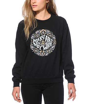 Obey Make Art Not War Wreath Black Crew Neck Sweatshirt