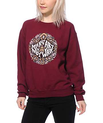 Obey Make Art Not War Wreath Maroon Crew Neck Sweatshirt