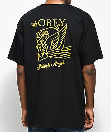 Obey Midnight Angels camiseta negra