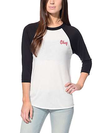 Obey Mini Script Light Grey & Black Baseball Tee