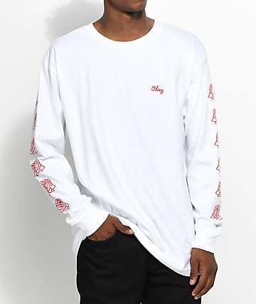 Obey Mira Rosa 2 camiseta de manga larga en rojo y blanco