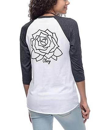 Obey Mira Rosa camiseta béisbol color plomo