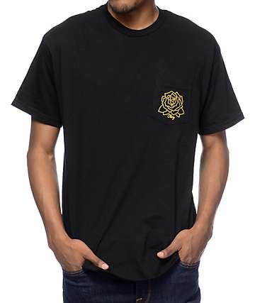 Obey Mira Rosa camiseta negra con bolsillo