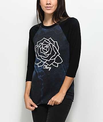 Obey Mira Rosa camiseta raglán negra de manga larga con efecto tie dye