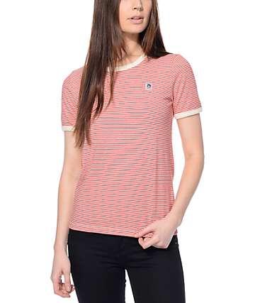 Obey Mitchell camiseta ringer roja