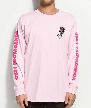 Obey Modern Lovers Pink Long Sleeve T-Shirt