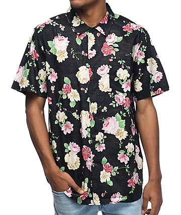 Obey Moku Black Floral Short Sleeve Button Up Shirt