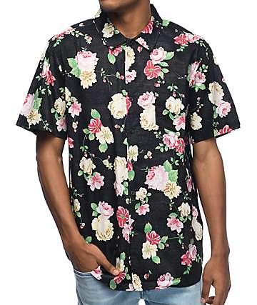 Obey Moku Black Floral Short Sleeve Button Up Shirt