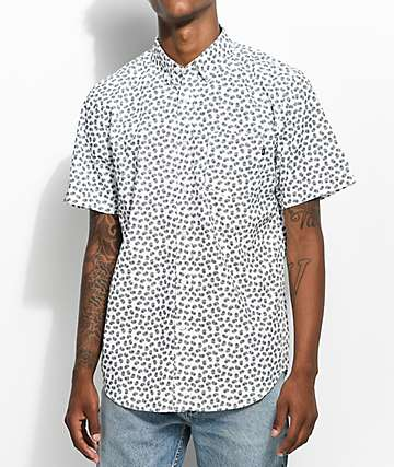 Obey Monty Paisley Printed White Woven Button Up Shirt