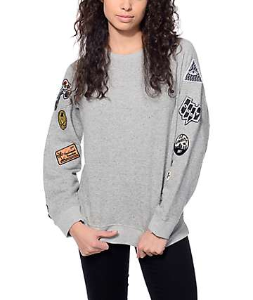 Obey Moonrise Heather Grey Crew Neck Sweatshirt