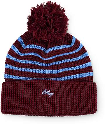 Obey Mulholland Burgundy & Blue Stripe Beanie