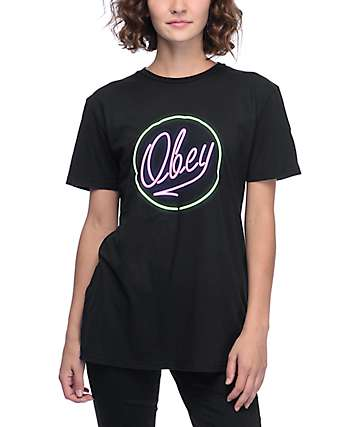 Obey Neon Classic Black T-Shirt
