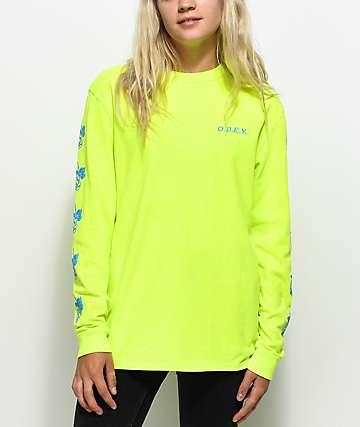 Obey New Rose 2 camiseta de manga larga en color amarillo neón