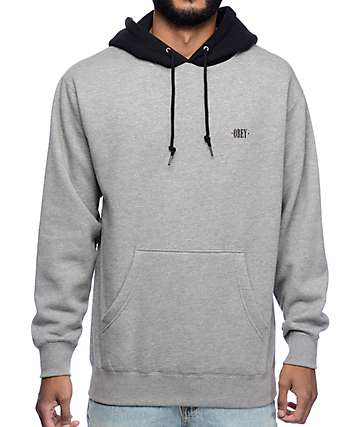Obey New Times Color Block Grey & Black Hoodie