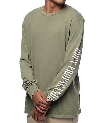 Obey New Times Propaganda Army Green Long Sleeve T-Shirt