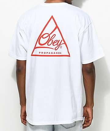 Obey Next Round 2 camiseta en blanco y rojo