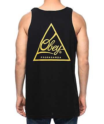 Obey Next Round 2 camiseta sin mangas en negro y color oro