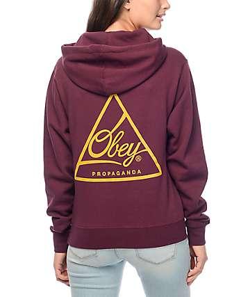 Obey Next Round sudadera con capucha en color vino