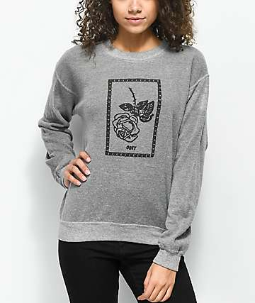 Obey Nobody's Flower Grey Fleece Sweatshirt