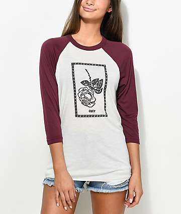 Obey Nobodys Flower Burgundy Vintage Raglan T-Shirt