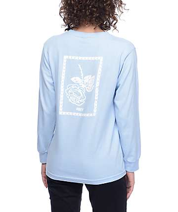 Obey Nobodys Flower Salvage camiseta azul de manga larga