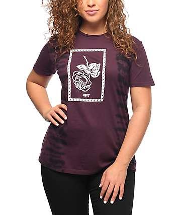 Obey Nobodys Flower camiseta con efecto tie dye en color vino