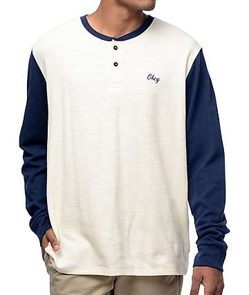 Obey Note Oat Long Sleeve Henley T-Shirt