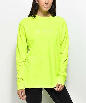 Obey Novel Safe camiseta verde de manga larga