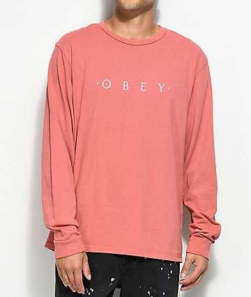 Obey Novel camiseta de manga larga en rosa polvareda