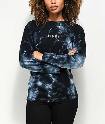 Obey Novel camiseta negra de manga larga con efecto tie dye