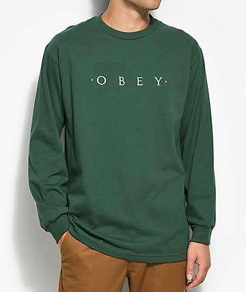 Obey Novel camiseta verde de manga larga