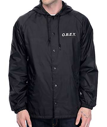 Obey O.B.E.Y. Black Hooded Coaches Jacket