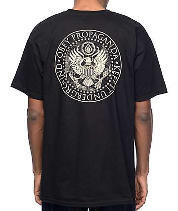 Obey Oil Eagle Black T-Shirt